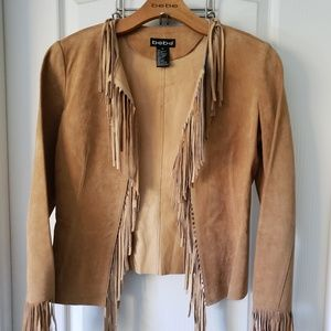 Bebe Tan Suede Fringed Jacket Sz Small